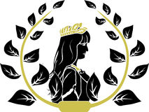 Laurel wreath with woman profile Royalty Free Stock Image