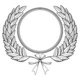 Laurel wreath woodcut. Laurel wreath with medal and bow - woodcut style Royalty Free Stock Photography