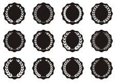 Laurel wreaths. Black round labels with laurel wreaths collection vector illustration