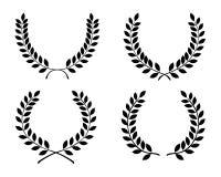 Laurel wreaths. Black silhouettes of laurel wreaths, illustration vector illustration