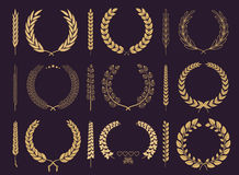 Laurel Wreaths and Branches Vector Collection Stock Photos