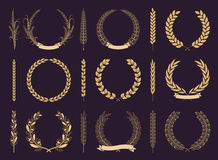 Laurel Wreaths and Branches Vector Collection Stock Images