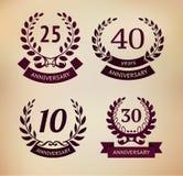 Laurel Wreaths Collection Elementos do aniversário Eps 10 ilustração royalty free