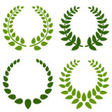 Laurel Wreaths Collection. Collection of four green laurel wreath, isolated on white background. Eps file available royalty free illustration