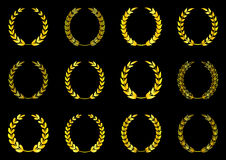 Laurel wreaths collection. Golden laurel wreaths collection on black background vector illustration