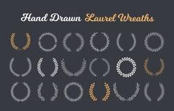 Laurel Wreaths. 18 Hand drawn laurel wreaths on dark background stock illustration