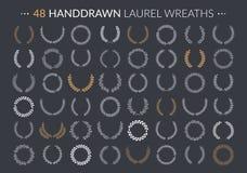 Laurel Wreaths. 48 Hand drawn laurel wreaths on dark background royalty free illustration