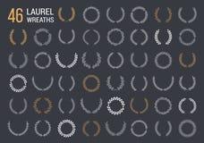 Laurel Wreaths. 46 Hand drawn laurel wreaths on dark background stock illustration