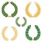 Laurel wreaths set. Laurel wreaths colour collection. Winner symbols Royalty Free Stock Photos