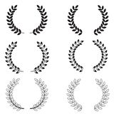 Laurel wreaths set on white background. Collection of black and white circular laurel wreaths for your web site design, logo, app. UI.  achievement symbol stock illustration