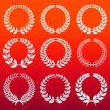 Laurel wreaths set - white decorative winners wreath Royalty Free Stock Images