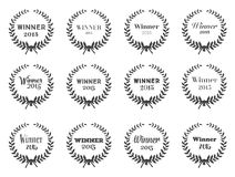 Laurel Wreaths Vector. Set of Typographic Design for your wins Royalty Free Stock Images