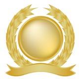 Laurel y bandera del oro Foto de archivo libre de regalías