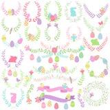 Laureles de Pascua del vector, guirnaldas y decoraciones florales Imagen de archivo