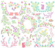 Laureles de Pascua del vector, guirnaldas y decoraciones florales Fotografía de archivo