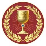 Laureles del oro y taza del oro Fotografía de archivo libre de regalías