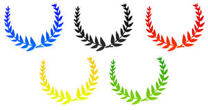 Laurels. In the colors of the olympic flags Stock Photography