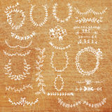 Laurels set - banner, frame, design elements hand drawn Stock Photography