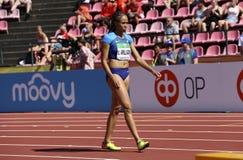 LAUREN PADAJĄ WILLIAMS od usa wygrany srebra na 200 metres definitywnych w IAAF Światowym U20 mistrzostwie w Tampere, Finlandia 1 fotografia royalty free
