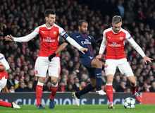 Laurent Koscielny, Lucas Moura and Aaron Ramsey Royalty Free Stock Photography