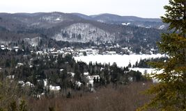 Laurentides mountains and village Royalty Free Stock Photos