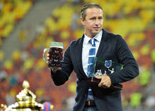 Laurentiu Reghecampf with Fair-Play Trophy and Beer Stock Photo
