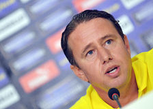 Laurentiu Reghecampf of Steaua Bucharest Press Conference Royalty Free Stock Photo