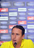 Laurentiu Reghecampf of Steaua Bucharest Press Conference Royalty Free Stock Image