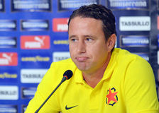 Laurentiu Reghecampf of Steaua Bucharest Press Conference Stock Image