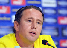 Laurentiu Reghecampf of Steaua Bucharest Press Conference Stock Photos