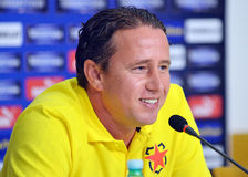 Laurentiu Reghecampf of Steaua Bucharest Press Conference Royalty Free Stock Photos