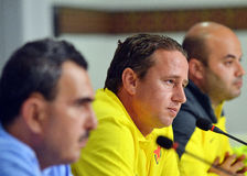 Laurentiu Reghecampf of Steaua Bucharest Press Conference Royalty Free Stock Images