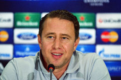 Laurentiu Reghecampf during UEFA Cheampions League press conference. Steaua's coach Laurentiu Reghecampf pictured during the official press conference held with Royalty Free Stock Photos
