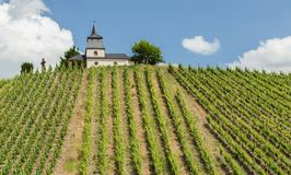 Laurentius Chapel a panorama Germania di Trittenheim immagini stock