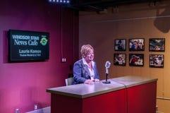 Laurie Komon Live-Interview Stockbild