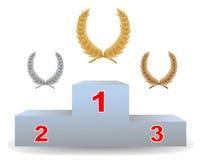 laurowi trzy wianki piedestału Zdjęcia Stock