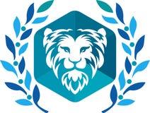 Laurowy wianku lwa logo royalty ilustracja