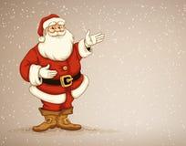 Laus del ½ del ¿del ï de Papá Noel que muestra en el lugar vacío para hacer publicidad Imagen de archivo libre de regalías