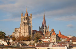 Lausanne. Sunset over ancient cathedral in Lausanne, dominating the cityscape stock photography