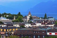Lausanne architecture and Lake Geneva Stock Photo