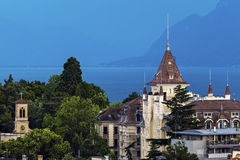 Lausanne architecture and Lake Geneva Royalty Free Stock Photos