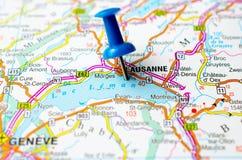 Lausanne auf Karte stockfoto