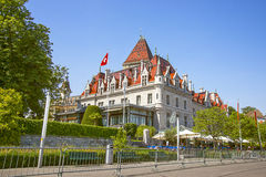 Lausanne castle of Ouchy (Le Chateau d'Ouchy) near Geneva Lake i. N summertime royalty free stock image