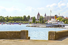 Lausanne castle of Ouchy near Geneva Lake in summer Stock Photos