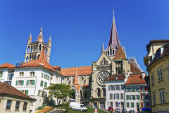 Lausanne Cathedral in summer. Lausanne Cathedral (Notre Dame) in summer street view stock photo