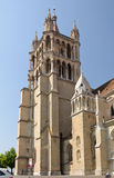 Lausanne cathedral tower close up. Royalty Free Stock Photography