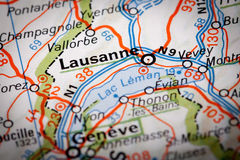 Lausanne. City on a road map stock photos