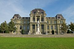 Lausanne courthouse. With statue of William Tell royalty free stock image