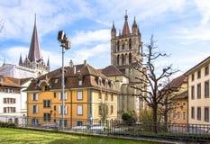 Lausanne domkyrka Royaltyfri Fotografi