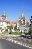 Lausanne domkyrka i sommar Arkivbilder